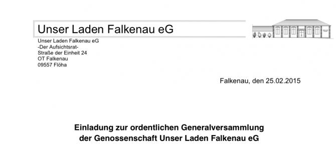 Einladung zur Generalversammlung 2015